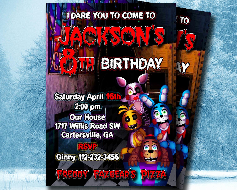 Five Nights at Freddy Invitation New Five Nights at Freddy S Invitation 5 Nights at by