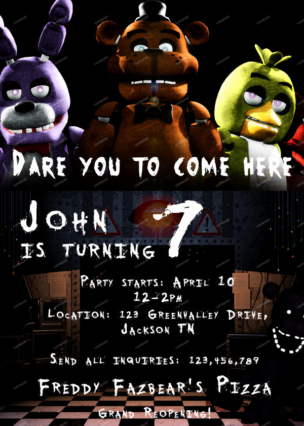 Five Nights at Freddy Invitation New Five Nights at Freddy S Personalized