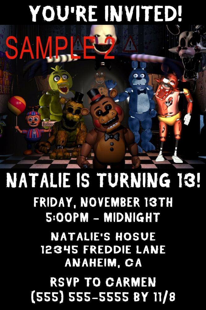 Five Nights at Freddy Invitation Unique 10 Five Nights at Freddy S Birthday Invitations