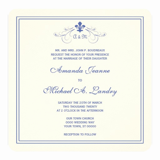 Fleur De Lis Wedding Invitation Awesome Blue and White Fleur De Lis Scroll formal Wedding