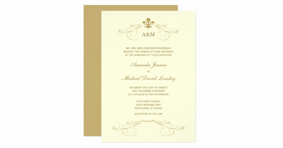 Fleur De Lis Wedding Invitation Best Of Champagne Gold Fleur De Lis Wedding I Invitations