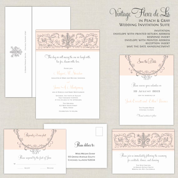Fleur De Lis Wedding Invitation Elegant Fleur De Lis Wedding Invitations Vintage Peach & Silver