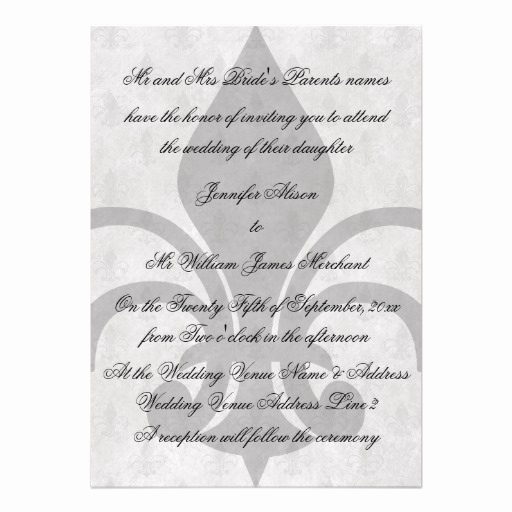 Fleur De Lis Wedding Invitation Fresh Black and White Fleur De Lis Wedding Invitations