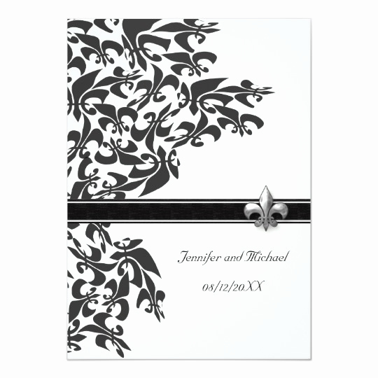 Fleur De Lis Wedding Invitation Inspirational Black and White Fleur De Lis Design Wedding Invite
