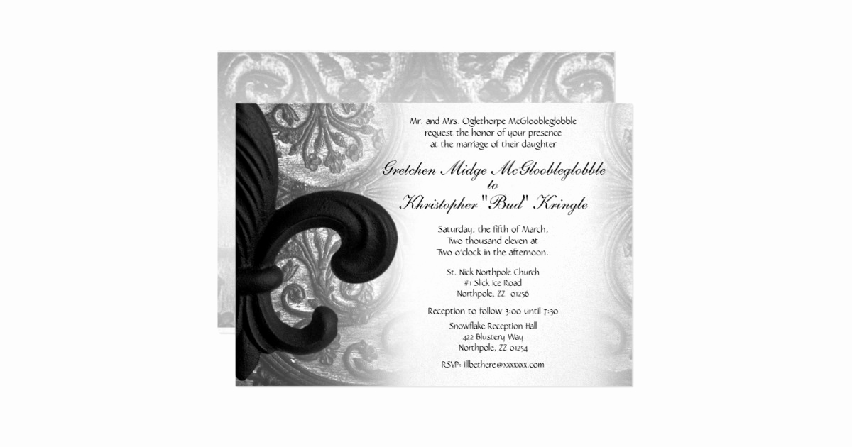 "Fleur De Lis Wedding Invitation Luxury Rich Black ""iron Fleur De Lis"" Wedding Invitation"