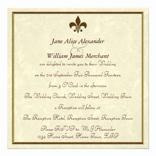Fleur De Lis Wedding Invitation Luxury Wedding Invitation Fleur De Lis In Neutrals & Gold 5 25