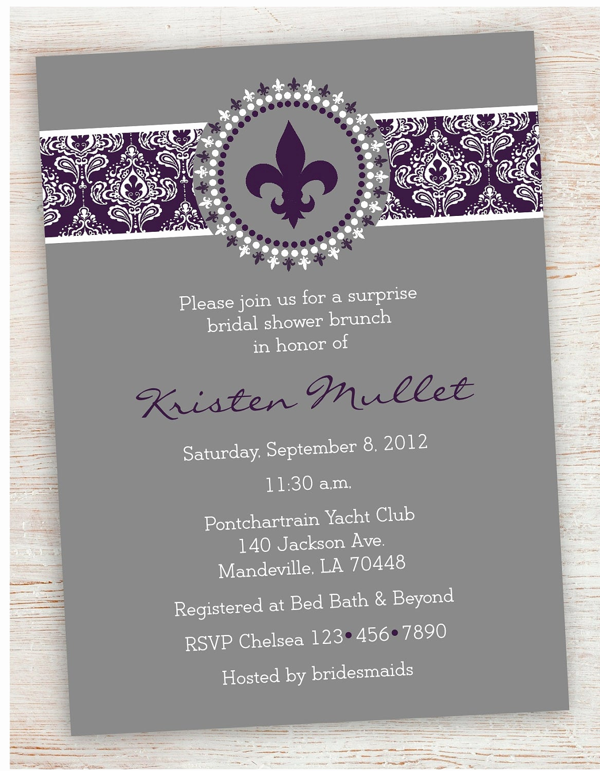 Fleur De Lis Wedding Invitation New 5x7 Fleur De Lis and Damask Bridal Shower Invitation by