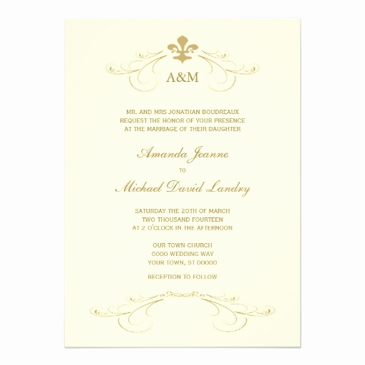 "Fleur De Lis Wedding Invitation New Champagne Gold Fleur De Lis Wedding I Invitations 5"" X 7"