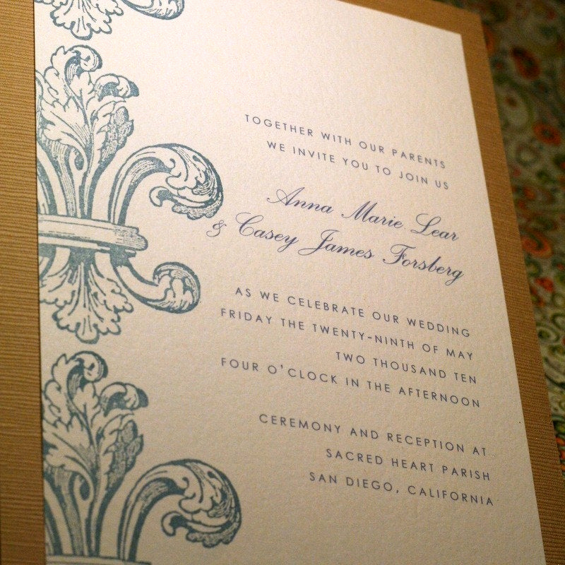 Fleur De Lis Wedding Invitation New Hand Stamped Fleur De Lis Invitation Set by Goldensilhouette