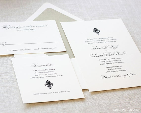Fleur De Lis Wedding Invitation Unique Fleur De Lis Wedding Invitation New orleans Wedding by