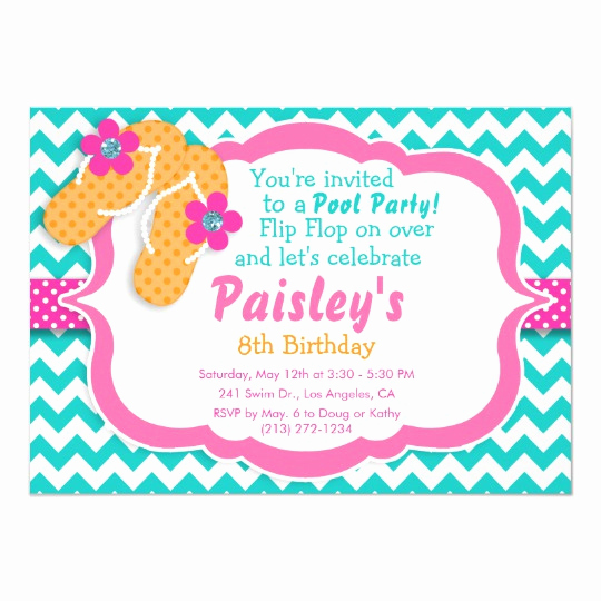 Flip Flop Invitation Template Awesome Pool Party Flip Flop Birthday Party Invitation