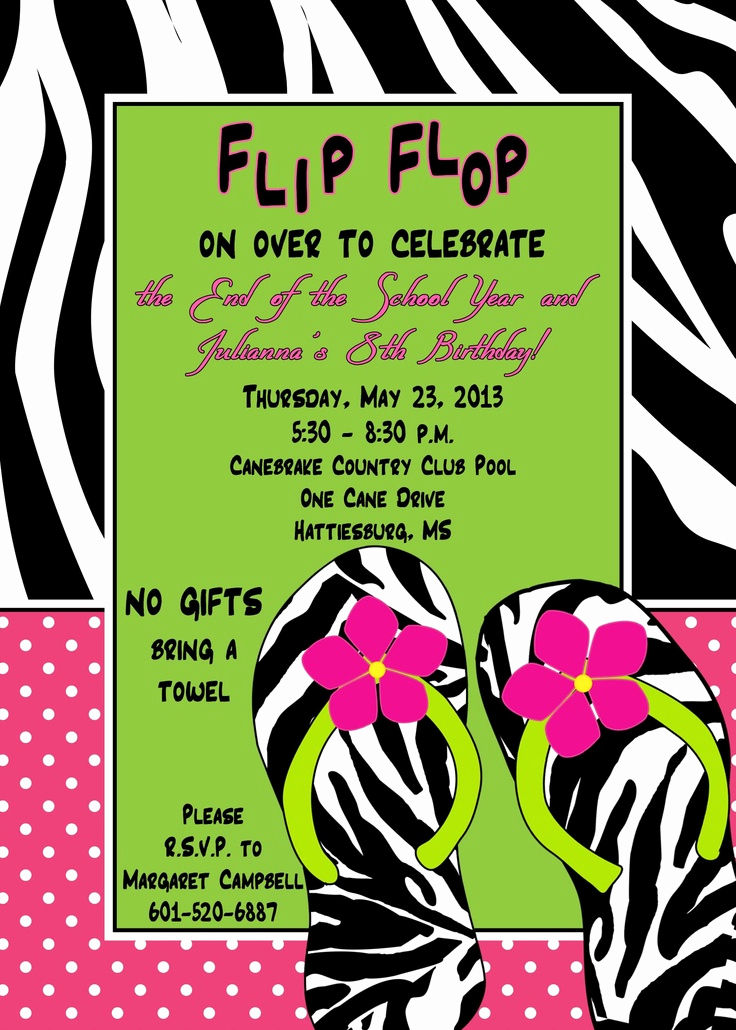 Flip Flop Invitation Template Beautiful 11 Best Images About Wet N Wild Invites On Pinterest