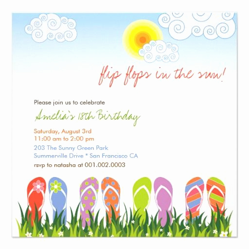 Flip Flop Invitation Template Beautiful 7 Best Images About Lauren Bday On Pinterest