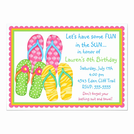 Flip Flop Invitation Template Beautiful Flip Flops Birthday Invitations
