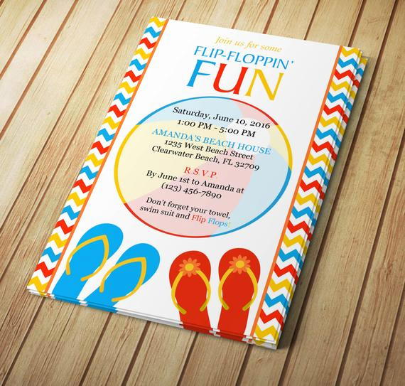 Flip Flop Invitation Template Beautiful Summer Flip Flop Invitation Editable Template Microsoft