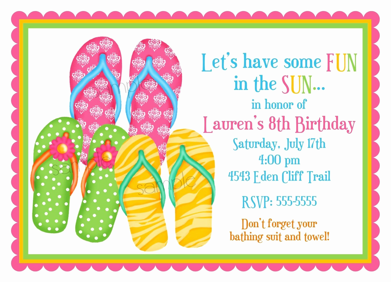 Flip Flop Invitation Template Elegant Flip Flop Invitations Flip Flops Summer Pool Party Beach