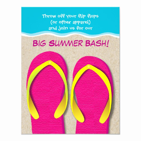 Flip Flop Invitation Template Elegant Flip Flops the Beach Summer Party Invitation