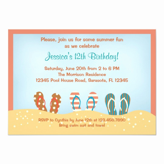 Flip Flop Invitation Template Inspirational Flip Flops Birthday Party Invitation