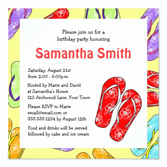 Flip Flop Invitation Template Lovely Cute Flip Flop Beach themed Birthday Party Invitation