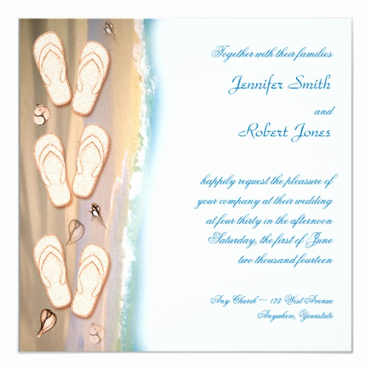 Flip Flop Invitation Template Lovely Flip Flops On the Beach Wedding Invitation