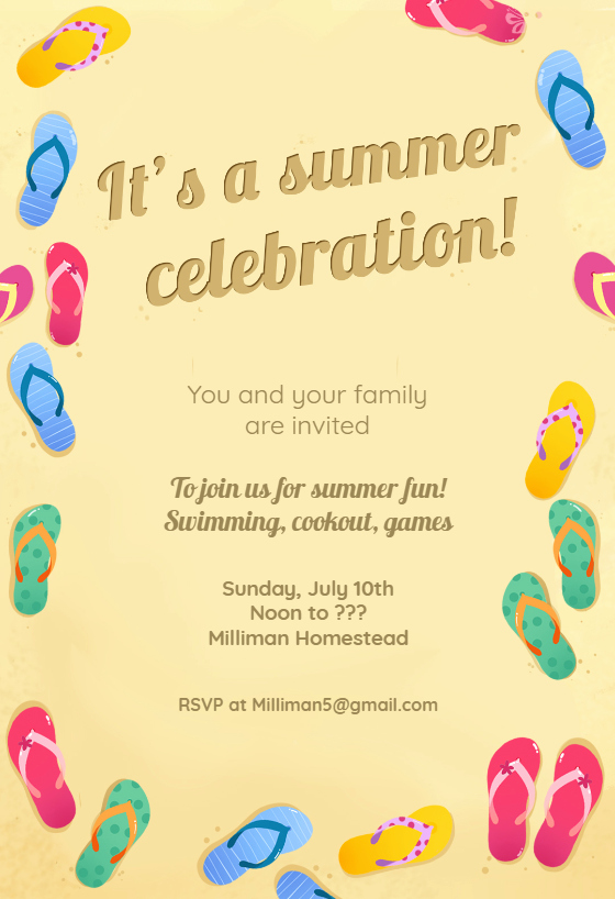 Flip Flop Invitation Template Unique Colorful Flip Flops Pool Party Invitation Template Free