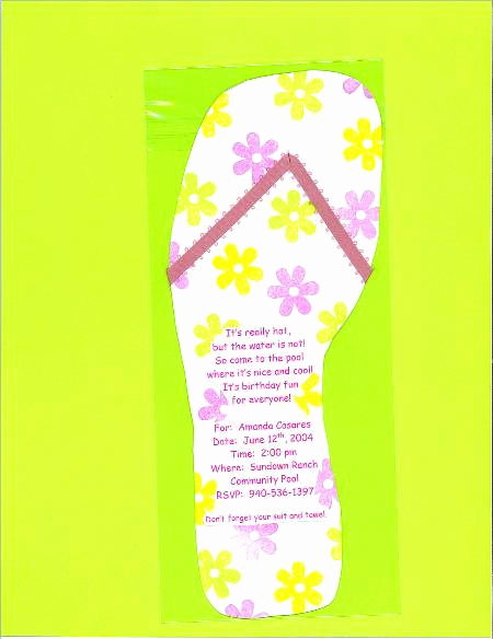 Flip Flop Invitation Template Unique Flip Flop Custom Birthday Invitations
