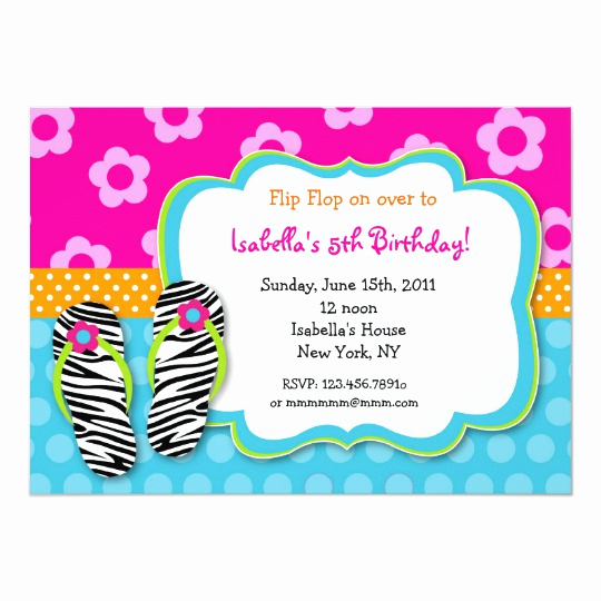 Flip Flop Invitation Template Unique Flip Flop Luau Pool Party Birthday Invitations