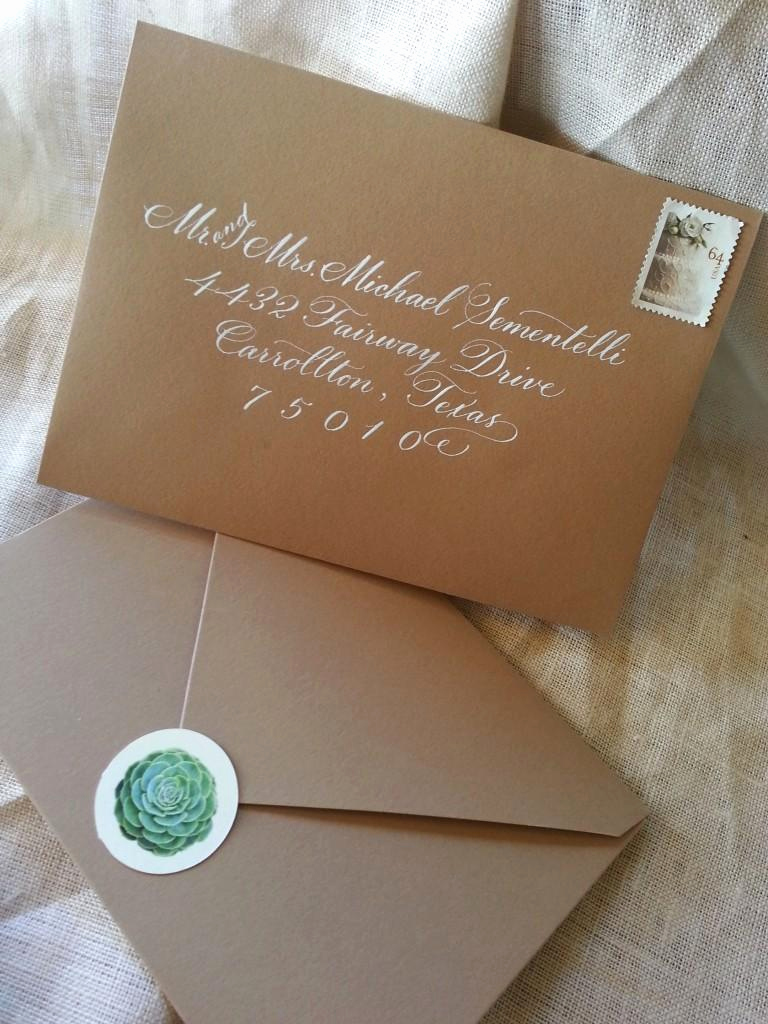 Fonts for Wedding Invitation Envelopes Fresh Succulent Wedding Invitation In Kraft Pouch Paperblog