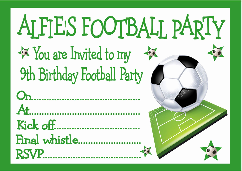 Football Invitation Template Free Awesome Personalised Invites Childrens Boys Football Birthday