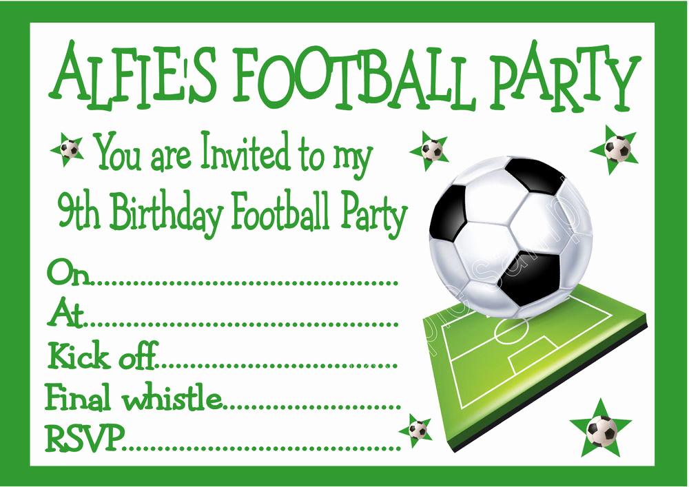 Football Invitation Template Free Awesome Personalised Invites Childrens Boys Football Birthday