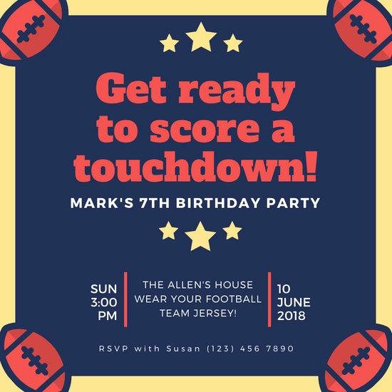 Football Invitation Template Free Beautiful Customize 52 Football Invitation Templates Online Canva