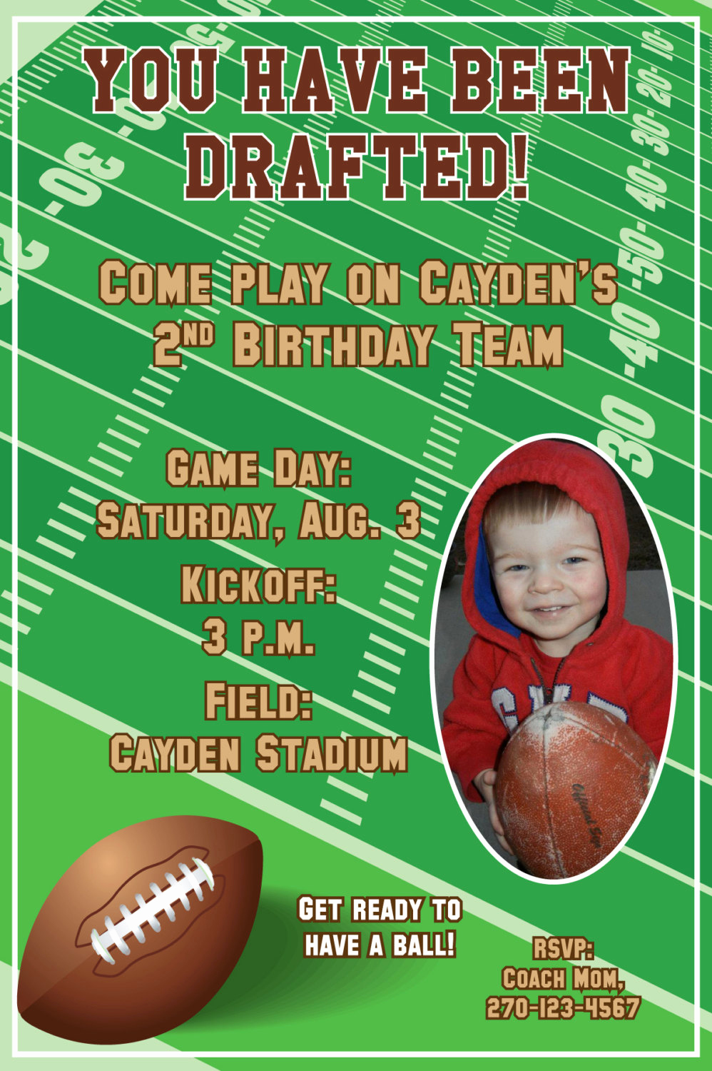 Football Invitation Template Free Beautiful Football Birthday Party Invitations Personalized with