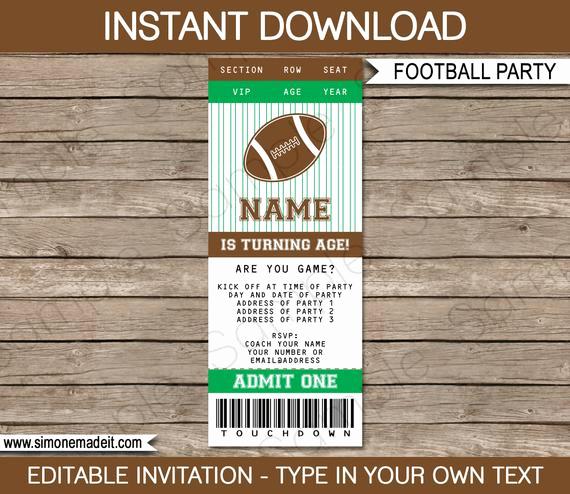 Football Invitation Template Free Best Of Football Ticket Invitation Template Birthday Party