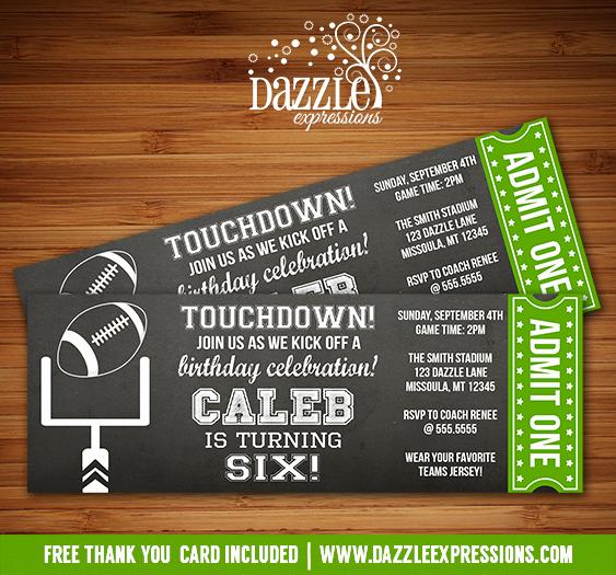 Football Invitation Template Free Best Of Printable Chalkboard Football Ticket Birthday Invitation