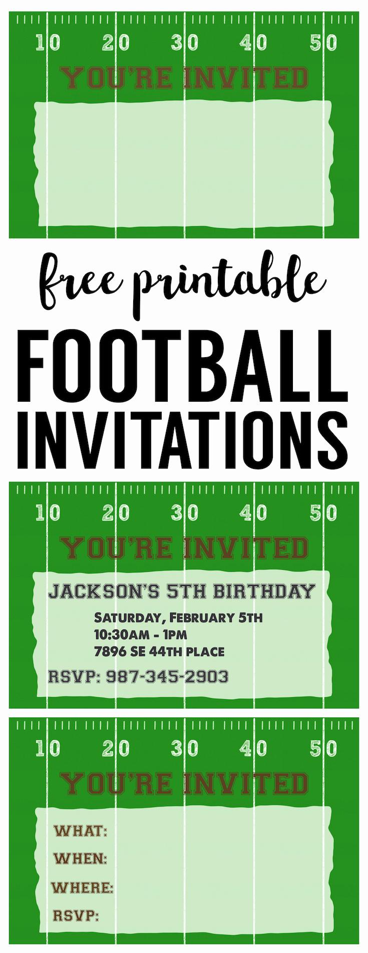 Football Invitation Template Free Inspirational Football Party Invitation Template Free Printable