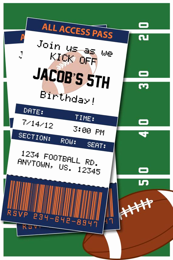 Football Party Invitation Wording Awesome Football Birthday Party or Superbowl by Heatherscreations11