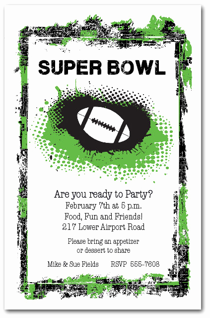 Football Party Invitation Wording Awesome Grunge Football Super Bowl Party Invitations