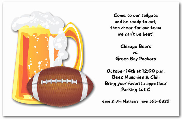 Football Party Invitation Wording Beautiful Beer and Football Invitation Tailgating Invitation