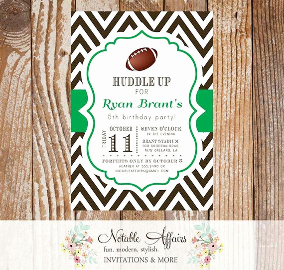 Football Party Invitation Wording Best Of Football Chevron Quarterback Birthday Party Baby by