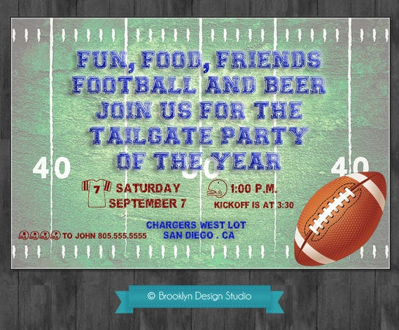 Football Party Invitation Wording Best Of Football Party Tailgate Party Custom by Brooklyndesignstudio