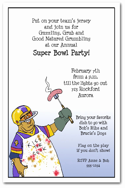 Football Party Invitation Wording Elegant Football Fan Super Bowl Chef Party Invitations