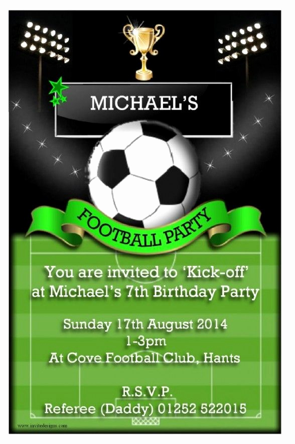 Football Party Invitation Wording Fresh Party Invitations Personalised Football Birthday Party