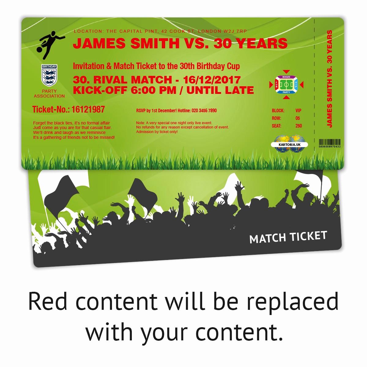 Football Party Invitation Wording Lovely Birthday Party Invitation Green Football Match Ticket