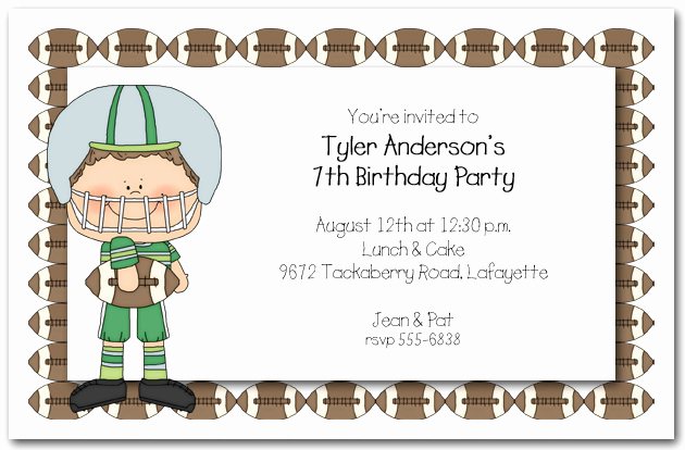 Football Party Invitation Wording Lovely Boys Football Time Party Invitations Football Invitations