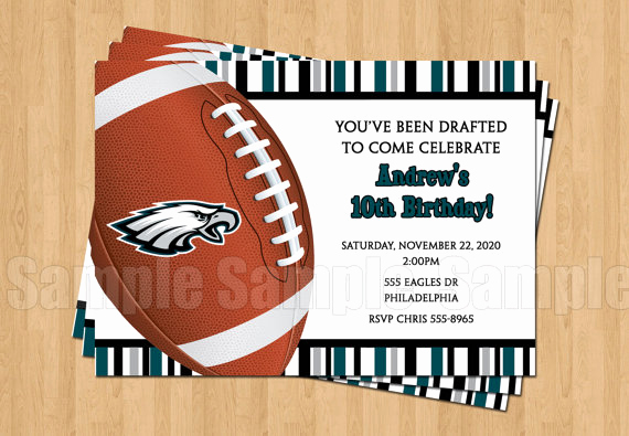 Football Party Invitation Wording Luxury Philadelphia Eagles Football Birthday Party Invitation Sports