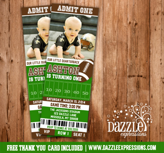 Football Party Invitation Wording Luxury Printable Football Ticket Birthday Invitation Kids