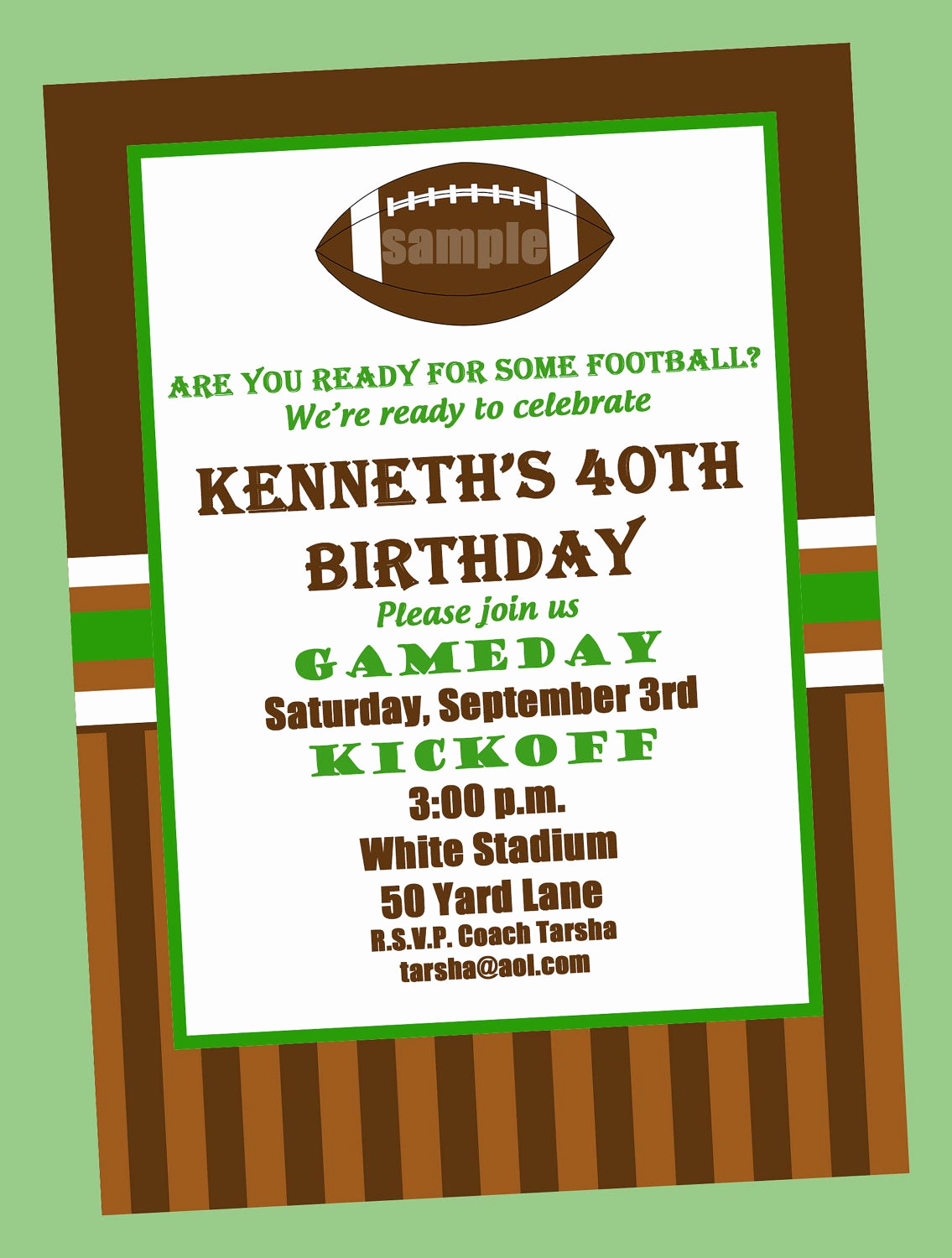 Football Party Invitation Wording New Football Birthday Party Invitation Printable or Printed