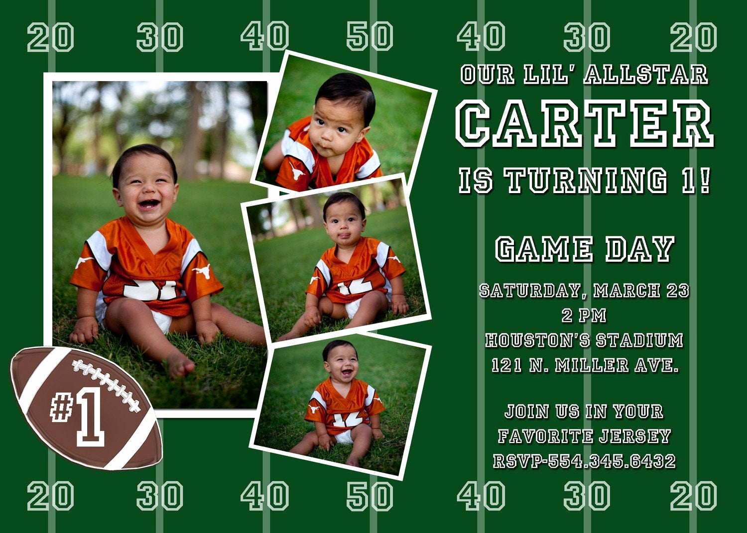 Football Party Invitation Wording Unique Football Custom Birthday Party Invitation by