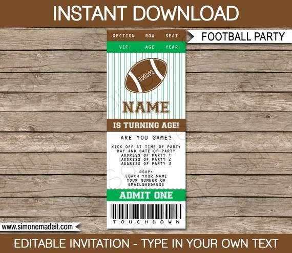 Football Ticket Invitation Template Free Beautiful Football Ticket Invitation Template Birthday Party
