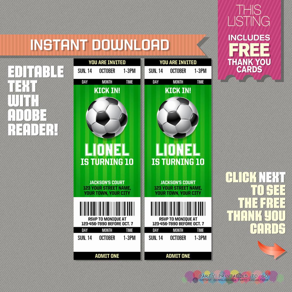 Football Ticket Invitation Template Free Beautiful soccer Ticket Invitation with Free Thank You Card soccer
